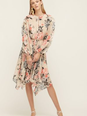 Painterly Floral Midi Dress