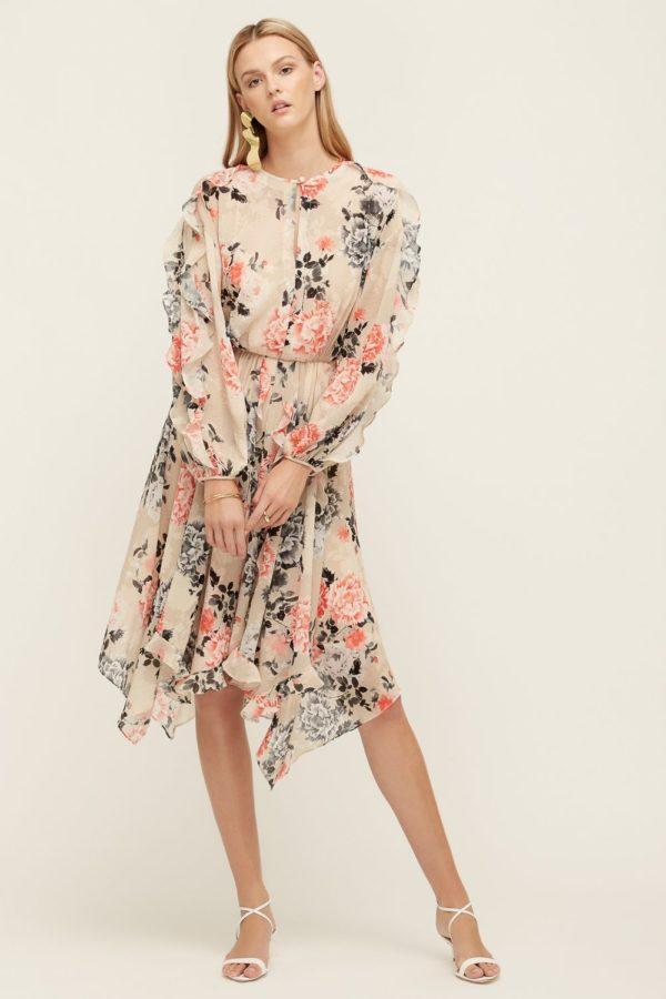 Painterly Floral Midi Dress