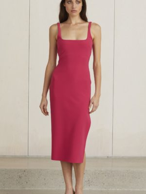Valentine Midi Dress Hot Pink