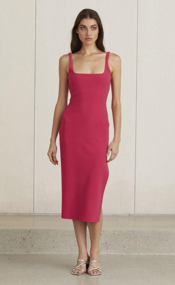 Valentine Midi Dress Hot Pink