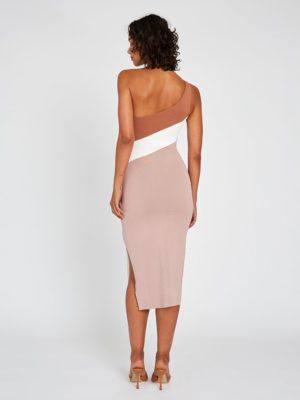 Taupe Tone Knit Midi Dress Back