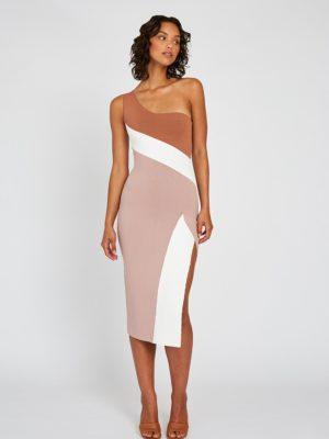 Taupe Tone Knit Midi Dress Front