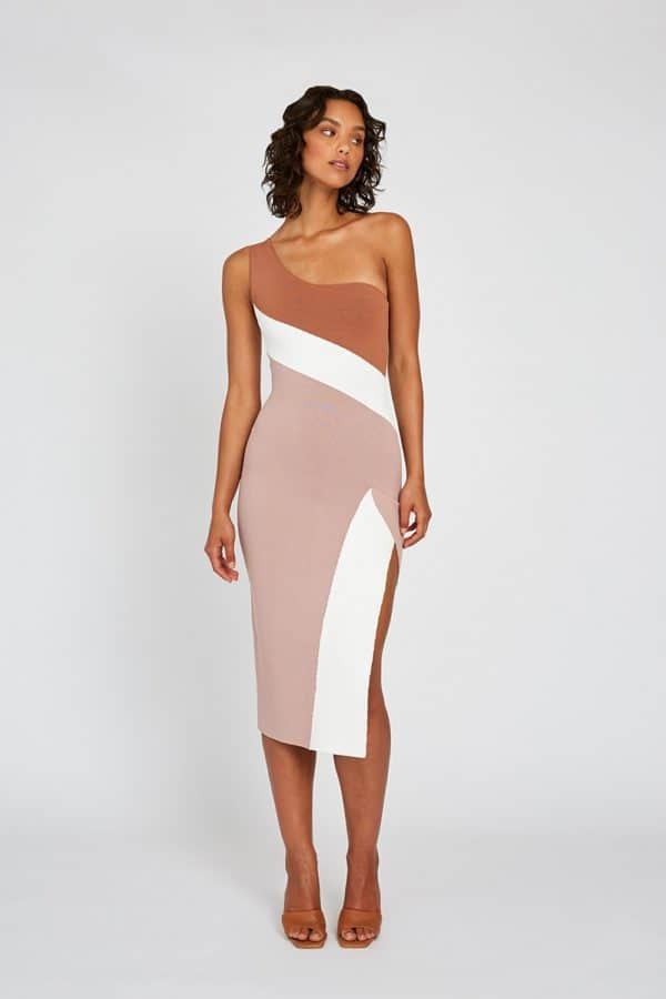 Taupe Tone Knit Midi Dress Front